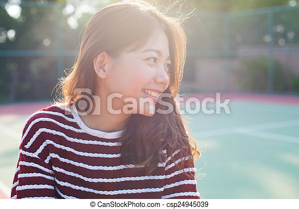 portrait young beautiful woman smiling with happy face
