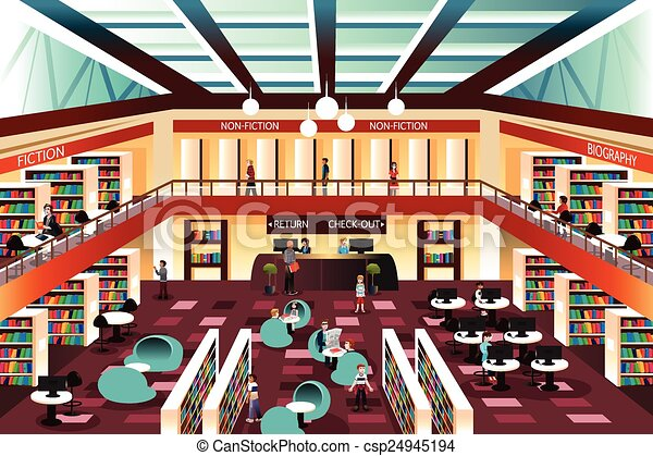 Resultado de imagen de library drawing inside