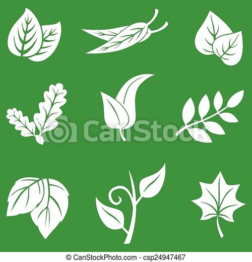 clip art vecteur de feuilles ensemble vert fond vecteur illustrations csp24947467. Black Bedroom Furniture Sets. Home Design Ideas
