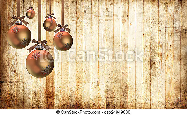 Christmas ornaments on a country wood background.