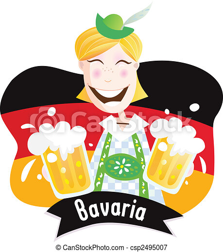 Oktoberfest (Bavarian male with beer) - csp2495007