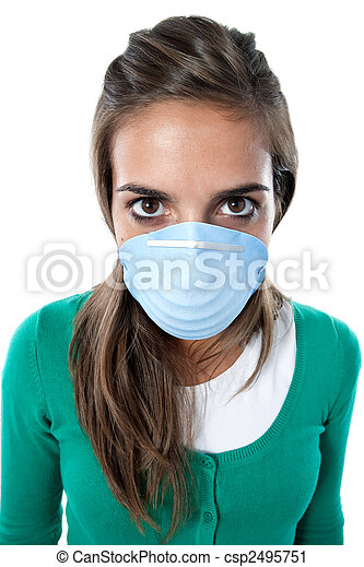 Distorted girl infected with influenza A - csp2495751