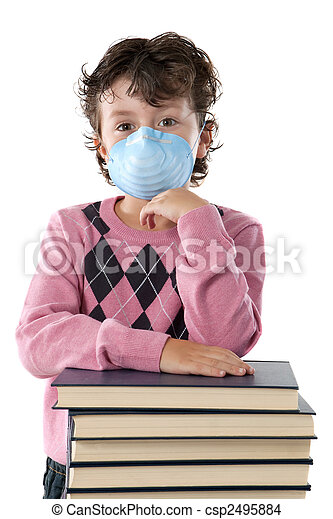 Student child infected with influenza A - csp2495884