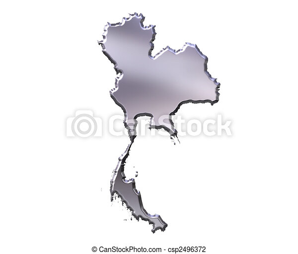 Thailand 3D Silver Map - csp2496372