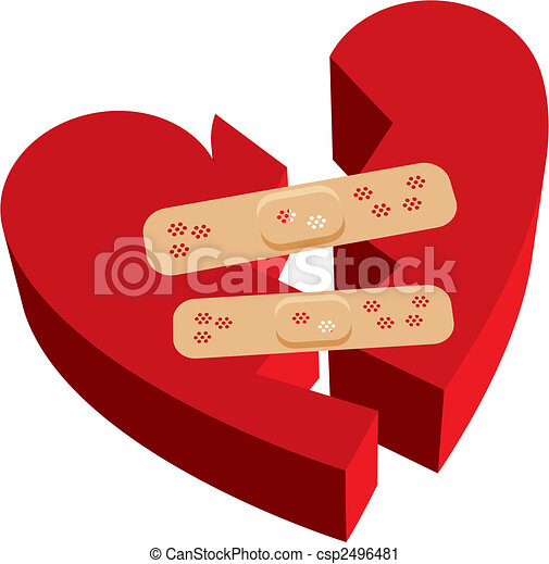 Vector Clip Art of Broken heart band-aids - Vector illustration of ...