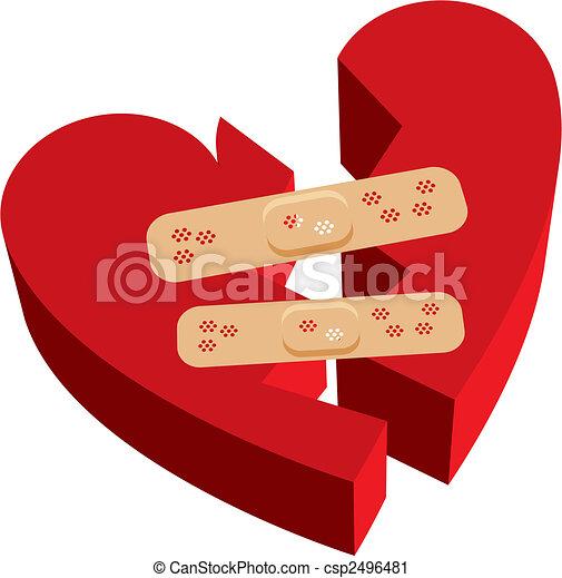 Broken heart band-aids - csp2496481