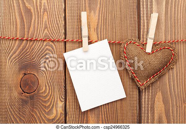 handmaded, brinquedo, foto, Quadro,  valentines, Saudação, ou, Dia, cartão, ele - csp24966325