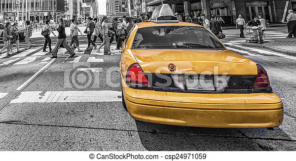 New York City Yellow Cab isolated on black and white background.
