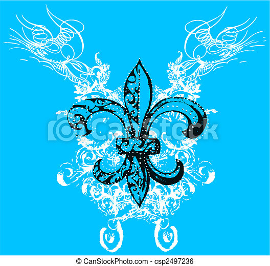 royalty symbol with scroll background - csp2497236