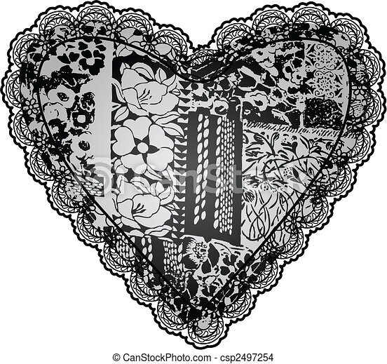 Heart lace embroidery design - csp2497254