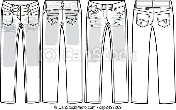 Skinny Jeans Drawing Ladies Jeans Skinny