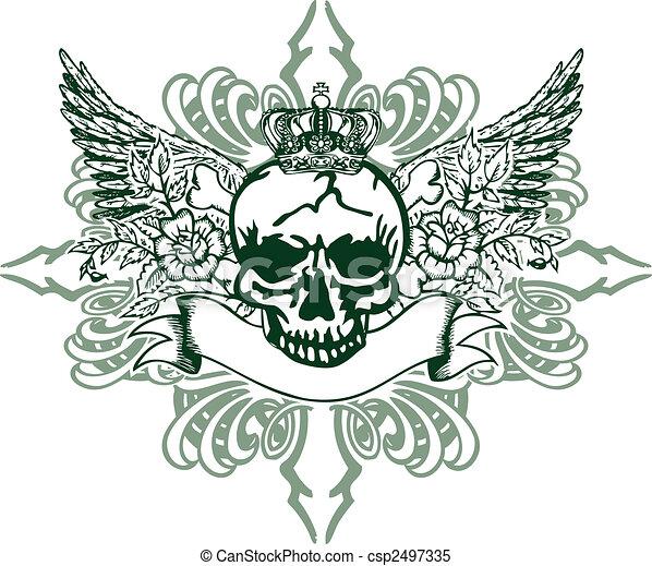 Heraldic Skull Element - csp2497335