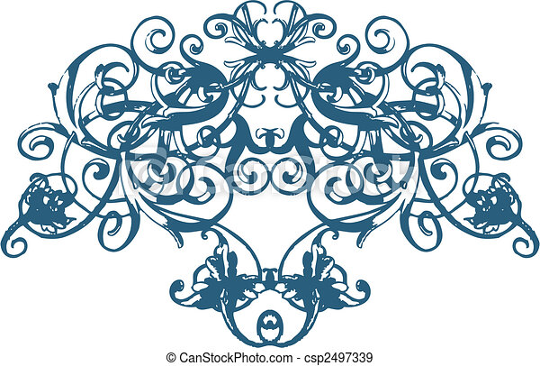 Scroll Floral Ornament - csp2497339