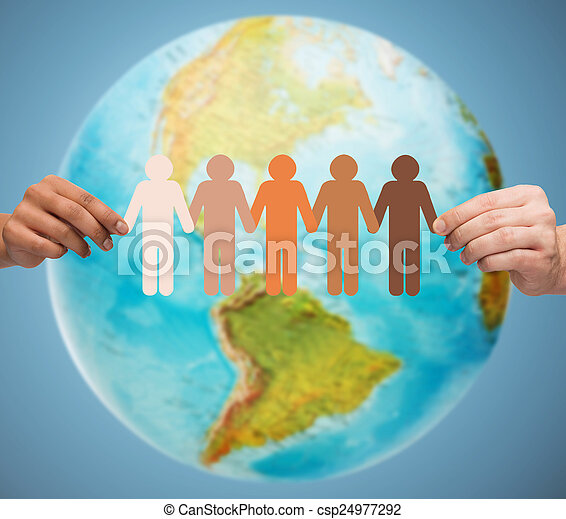 close up of human hands with earth globe - csp24977292