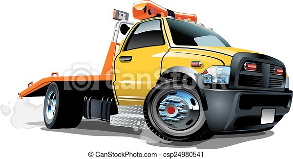 EPS Vector of Cartoon tow truck isolated on white background ...
