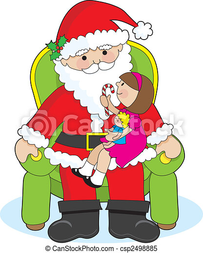 Stock Illustrations of Santa and Child - A little girl ...