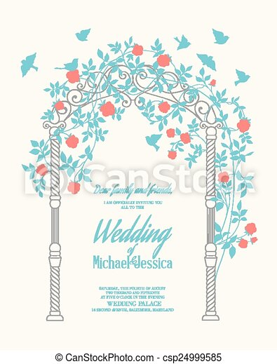 Vector of Wedding rose arch. - Wedding rose arch with calligraphic ...