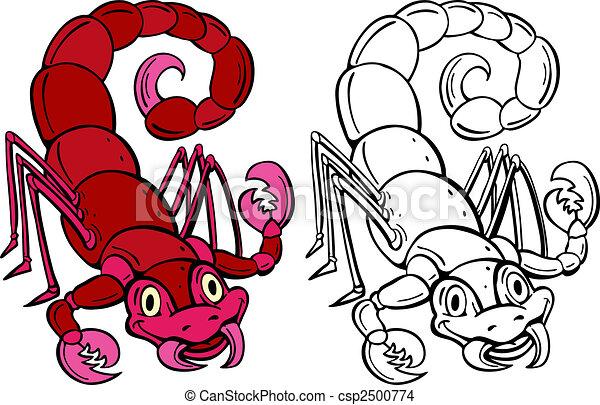 Vecteur EPS de scorpion - dessin animé, scorpion, isolé, blanc, fond ...