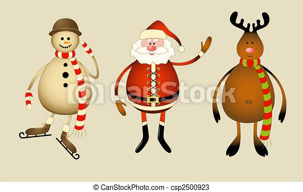 Santa Claus, snowman, reindeer - csp2500923