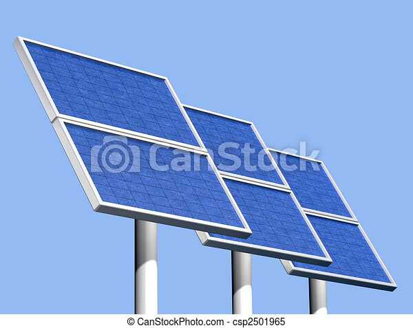 Group of solar panels on a clear sunny day - csp2501965