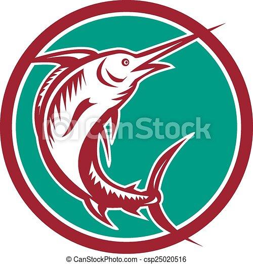 Vector Clip Art of Blue Marlin Fish Jumping Circle Retro ...