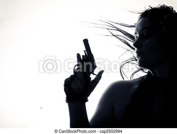 hermoso, arma de fuego, joven, aislado, mujeres - csp2502994