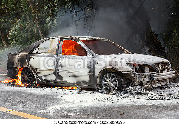 CHIANG MAI, THAILAND - JANUARY 1 : Car fire due to a gas explosi