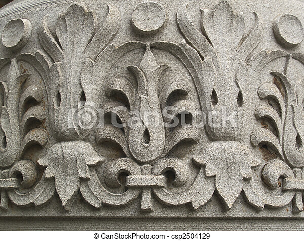 Floral pattern carved into stone - csp2504129