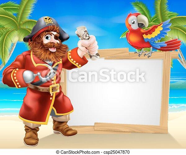 Pirate beach sign - csp25047870