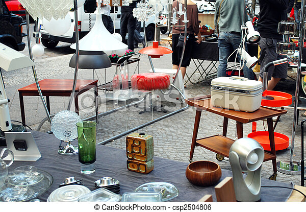 Stock Image of many vintage objects on the flea market csp2504806 ...