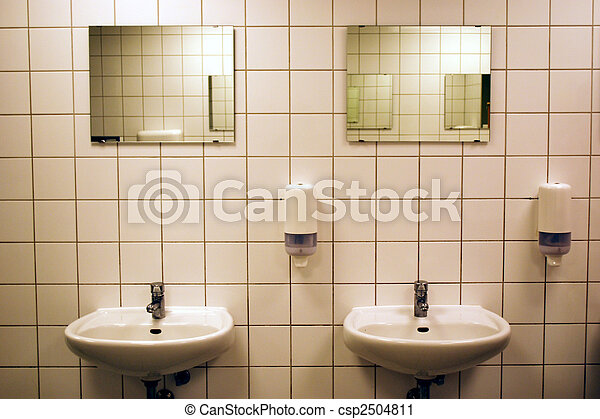 Public Bathroom Mirror stock photography of white tiled public bathroom with basins and
