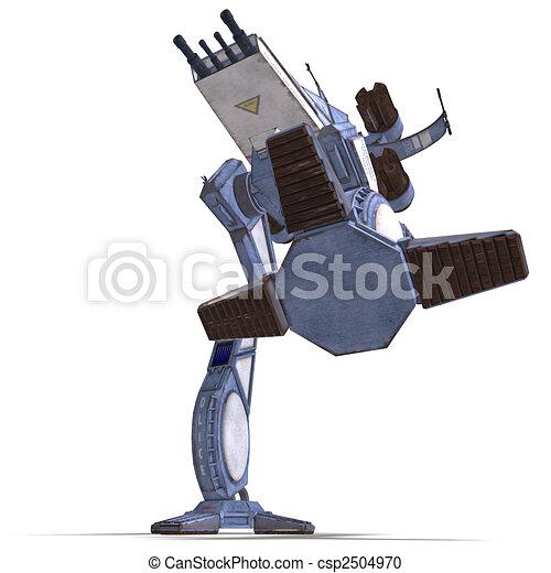 futuristic transforming scifi robot and spaceship  - csp2504970