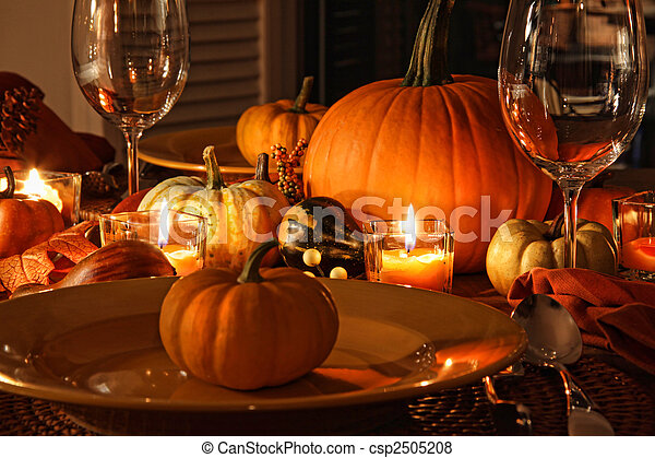 Festive autumn place settings with pumpkins - csp2505208