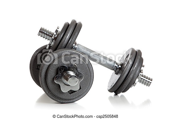 Set of Weightlifting dumbbells on a white background - csp2505848