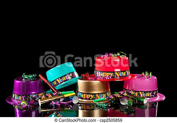 New Years' Eve party hats on  black background - csp2505859