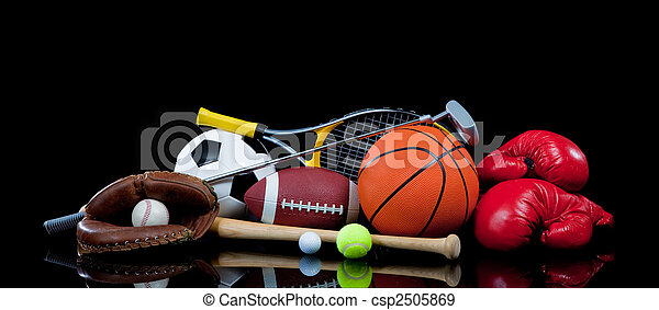 Assorted Sports Equipment on Black - csp2505869