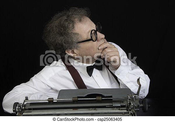 Author working on Typewriter