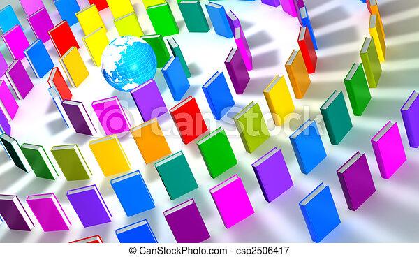 circle of colorful books around a globe - csp2506417
