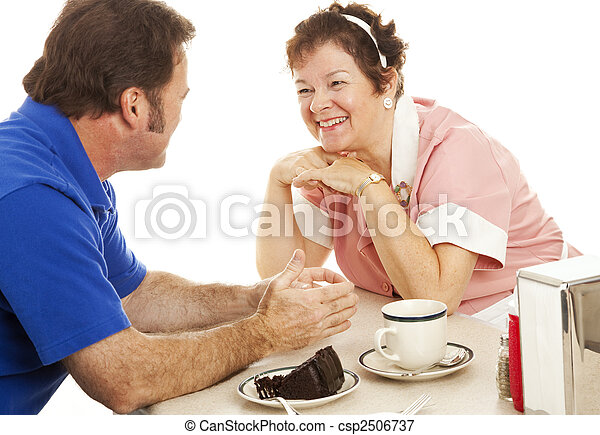 Waitress Chats with Customer - csp2506737