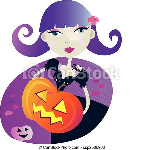 Halloween witch girl II - csp2506900