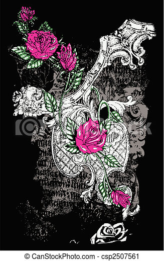 fancy rose with distressed background - csp2507561