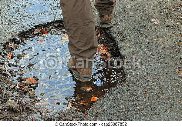 Close-up of a large pothole