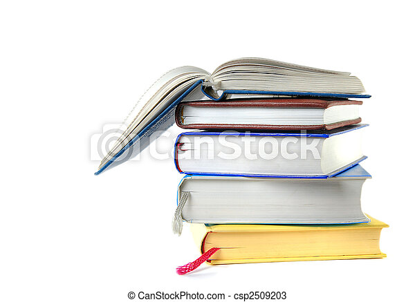 isolated pile of books - csp2509203