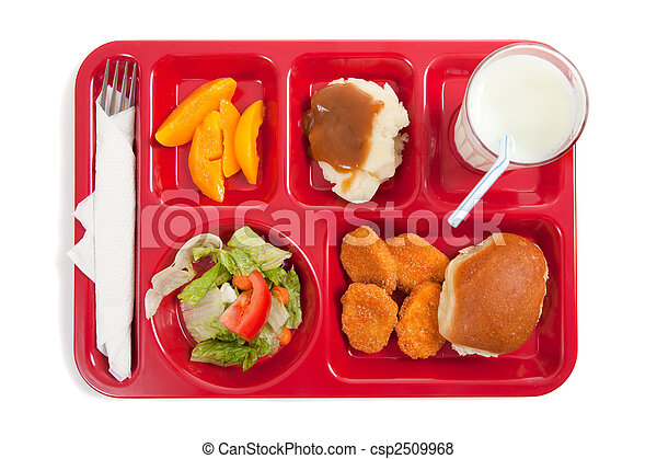 School lunch tray with food on it on a white backgrounf - csp2509968