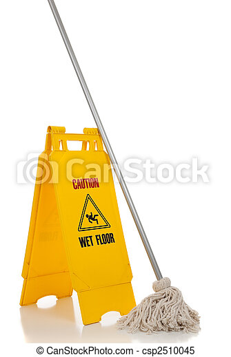 Wet floor sign and mop on white background - csp2510045