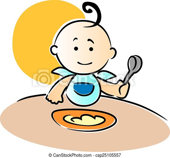 Clipart Vector of Cute little baby sitting eating food - Cute ...