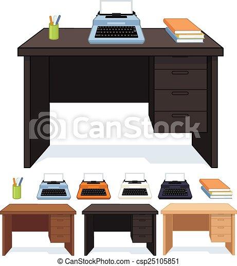 Clipart vectorial de madera escritorio m quina de - Escritorio para escribir ...