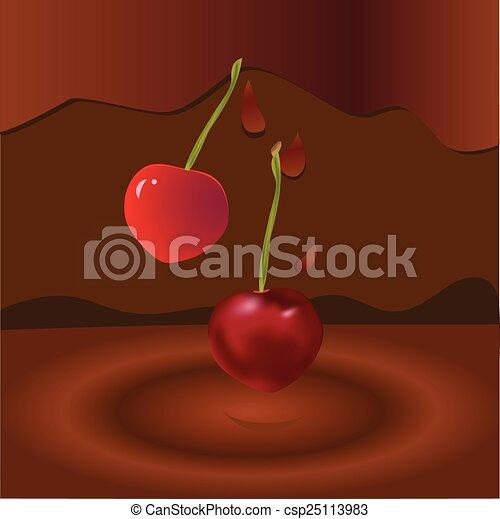 two cherries and chocolate - csp25113983