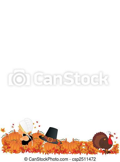 Lil Pilgrim girl in Pumpkin Patch - csp2511472