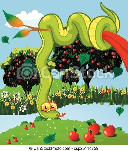 Clipart Vector Of The Serpent In The Garden Of God Garden Of Eden Vector Csp25114759